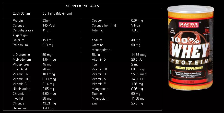 matrix nutrition 100 percent whey protein review